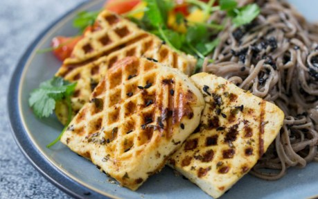 Tofu Halloumi With Black Sesame Soba