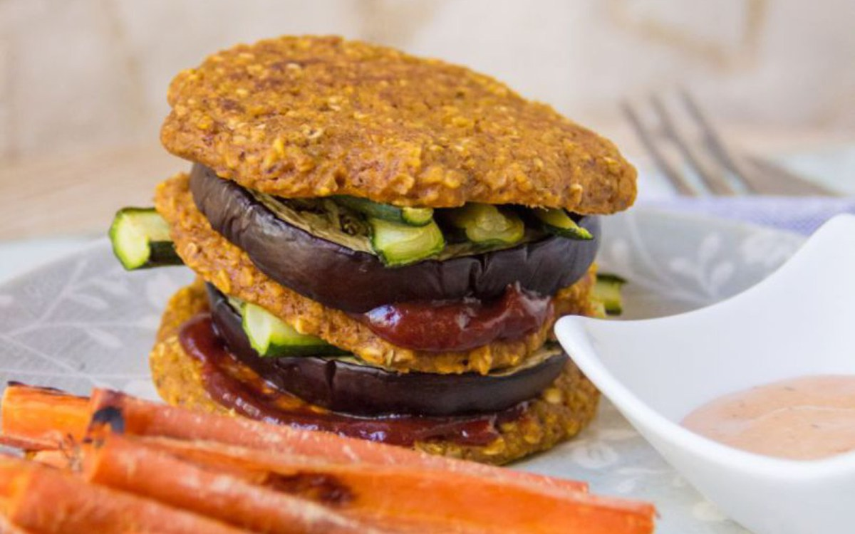 Vegan Eggplant and Carrot Oat Patty Stack