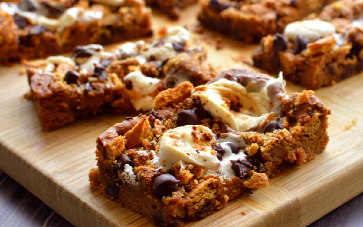Vegan Chickpea Chocolate Chip S'mores Blondies