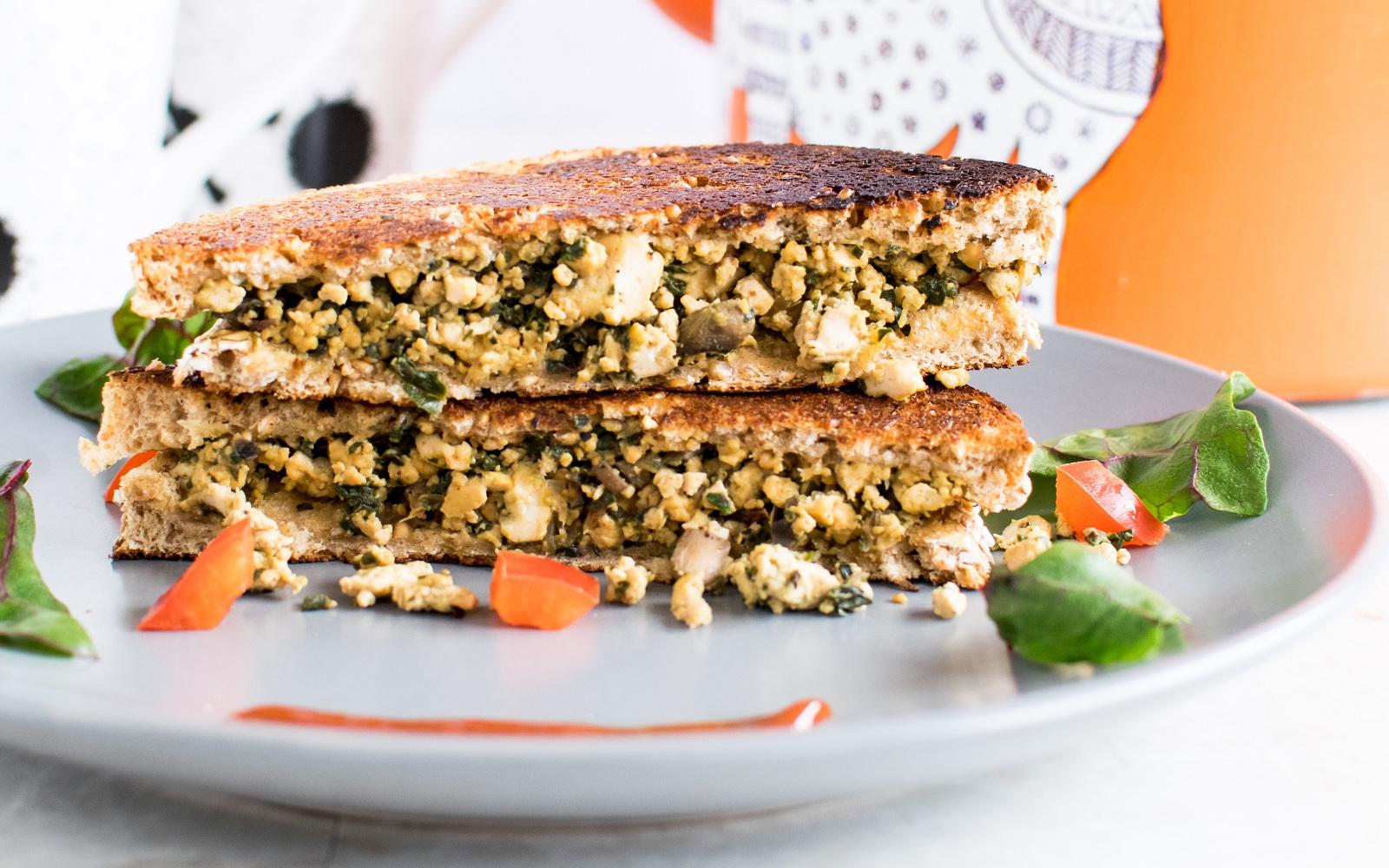tofu scramble and red chard sandwich