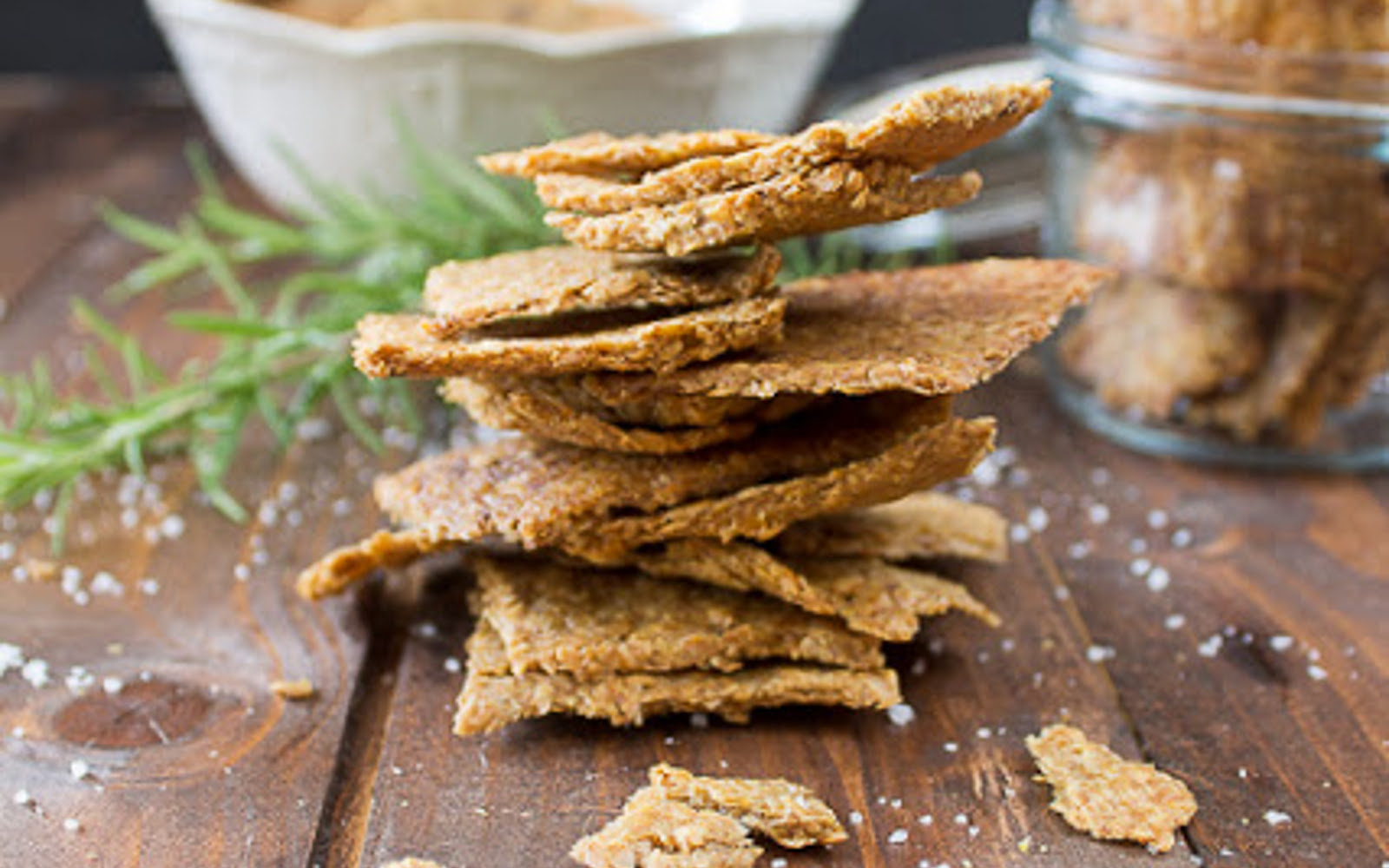 Vegan Grain-Free Garlic and Herb Flax Crackers