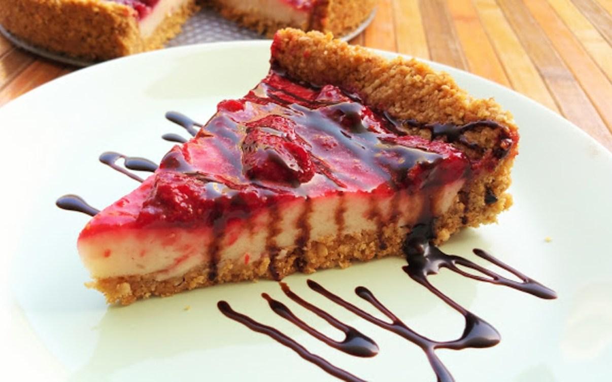 Lemon Yogurt Cheesecake With Strawberry Jam Vegan0
