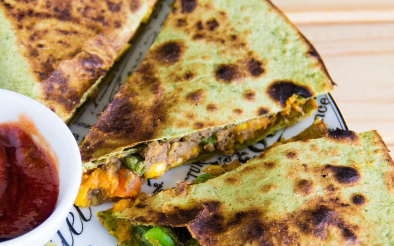 Vegan Smoky Lentil Hummus Quesadilla