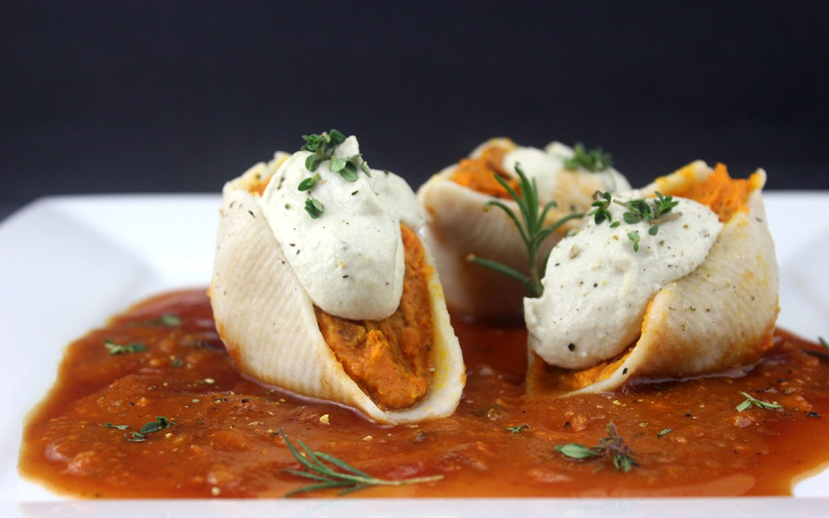 Sweet Potato Alfredo Stuffed Shells 1