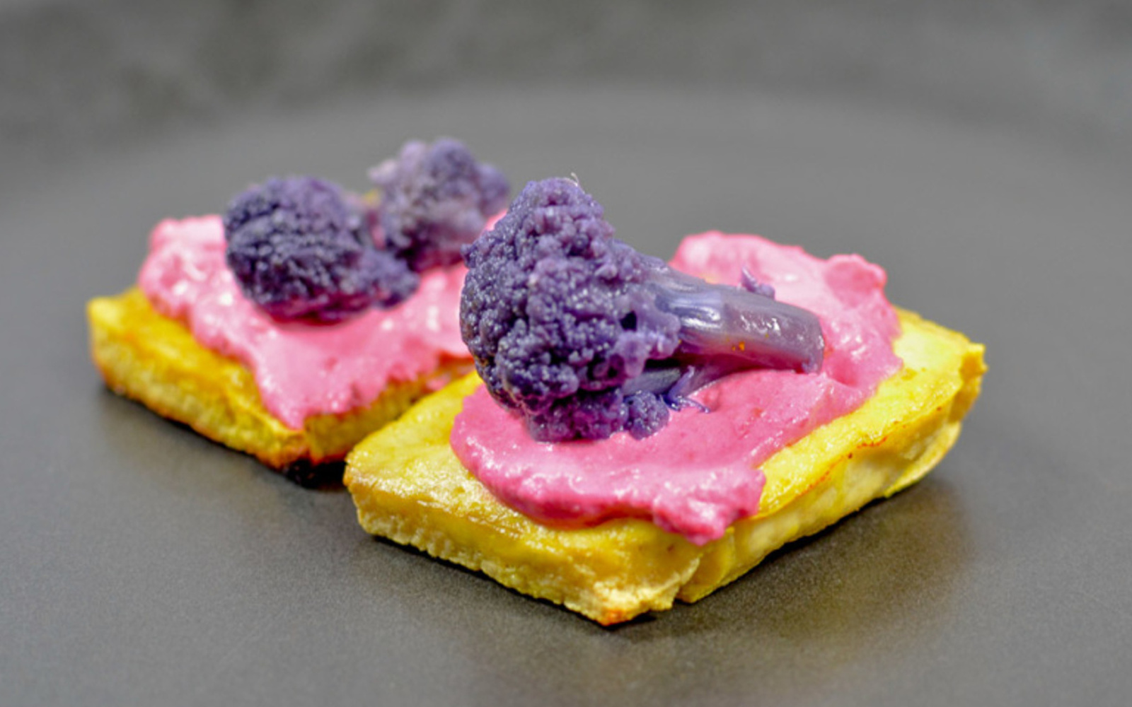 Tofu Hors D'oeuvre With Beet Hummus