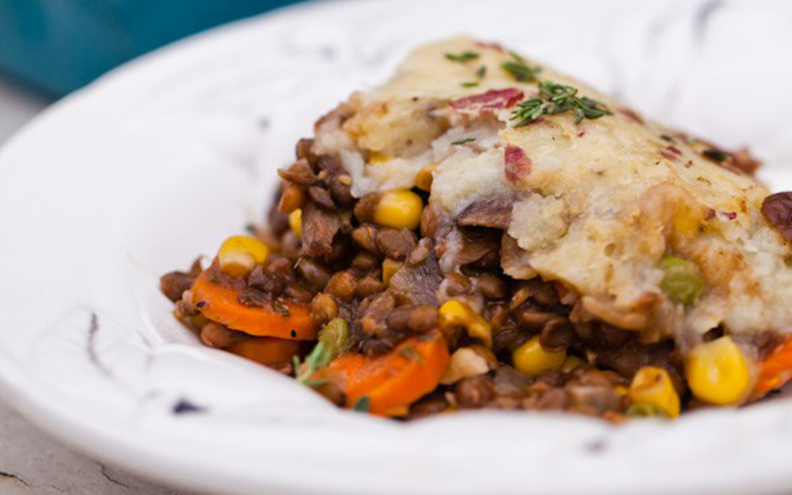 vegan portobello lentil shepherds pie