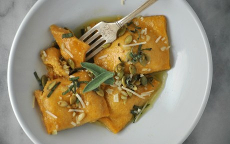 Pumpkin Sage Ravioli in White Wine Butter Sage Sauce