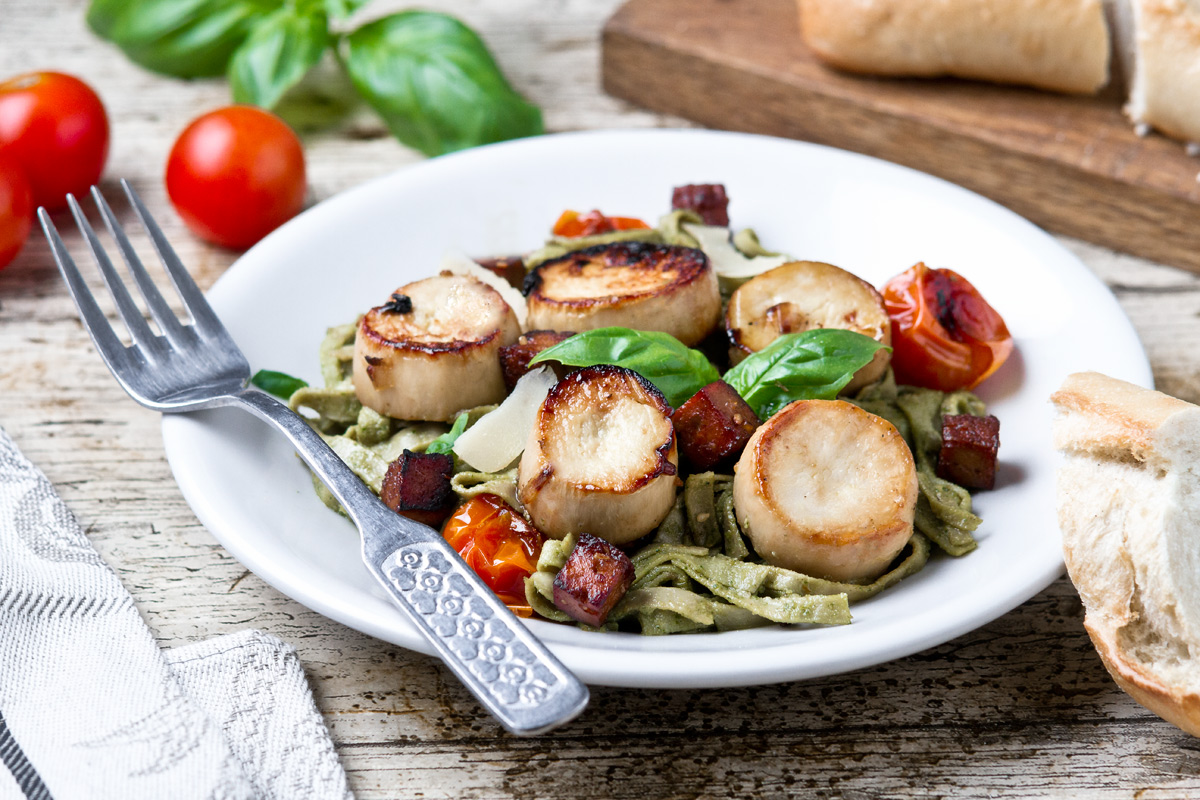 Oyster Mushroom Scallops With Pesto Pasta and Smoked Tofu Bacon