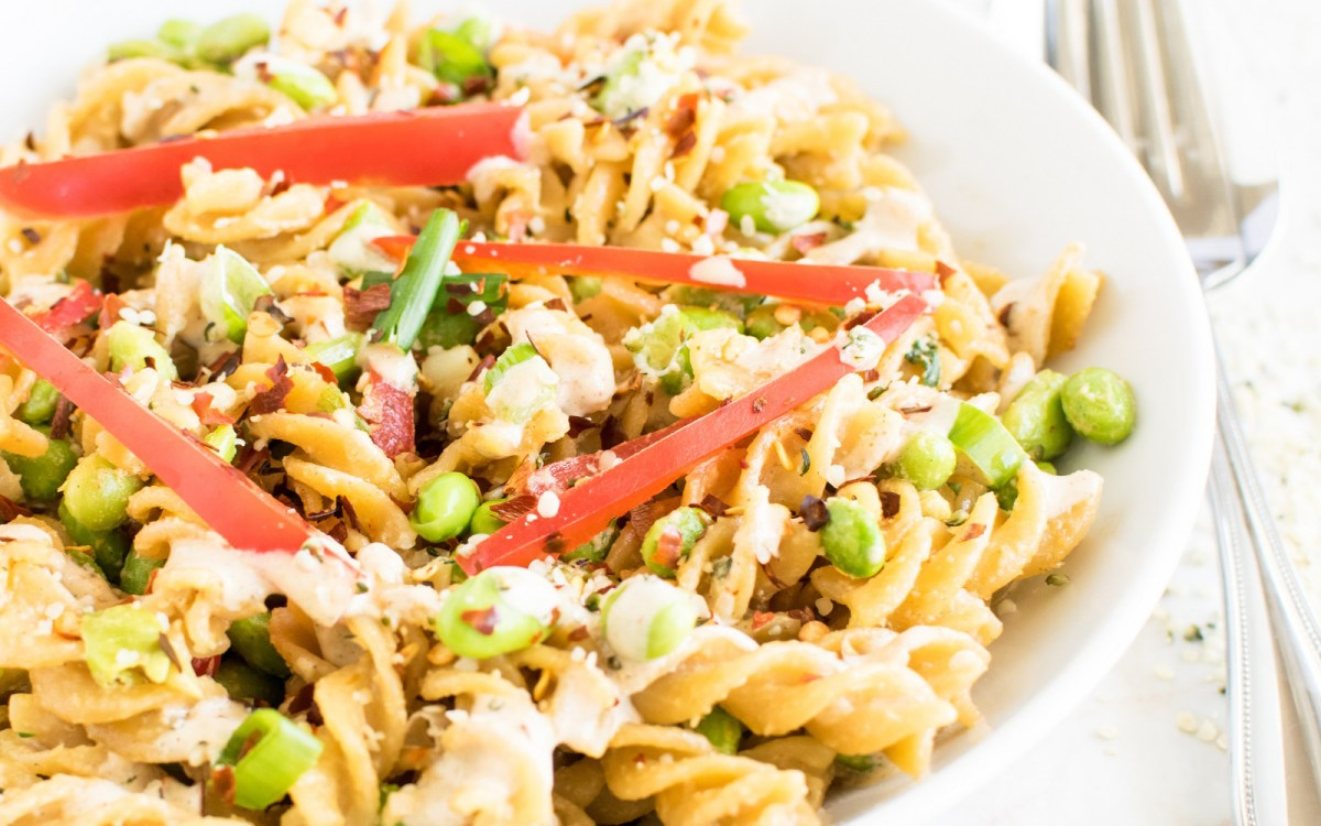 Chickpea Fusilli in Hemp Tahini Sauce