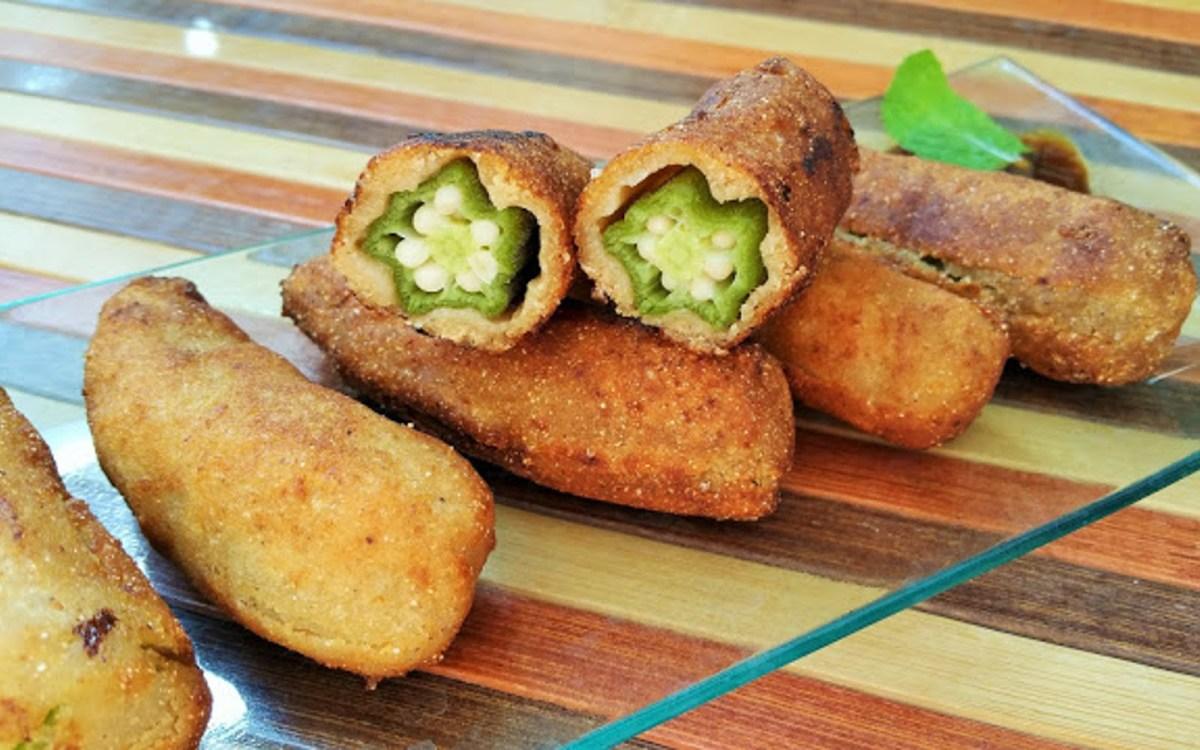 Vegan Golden Battered Okra Fritters