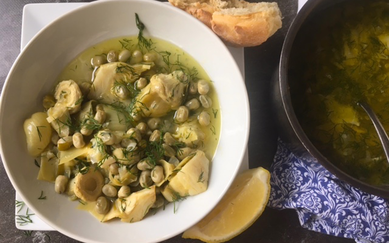 Stewed Artichokes With Fava Beans