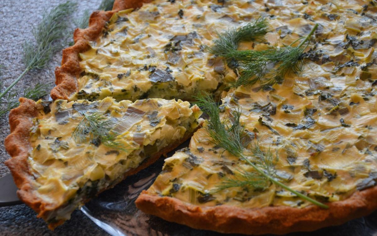Vegan Leek and Kale Tart With Sweet Potato Crust