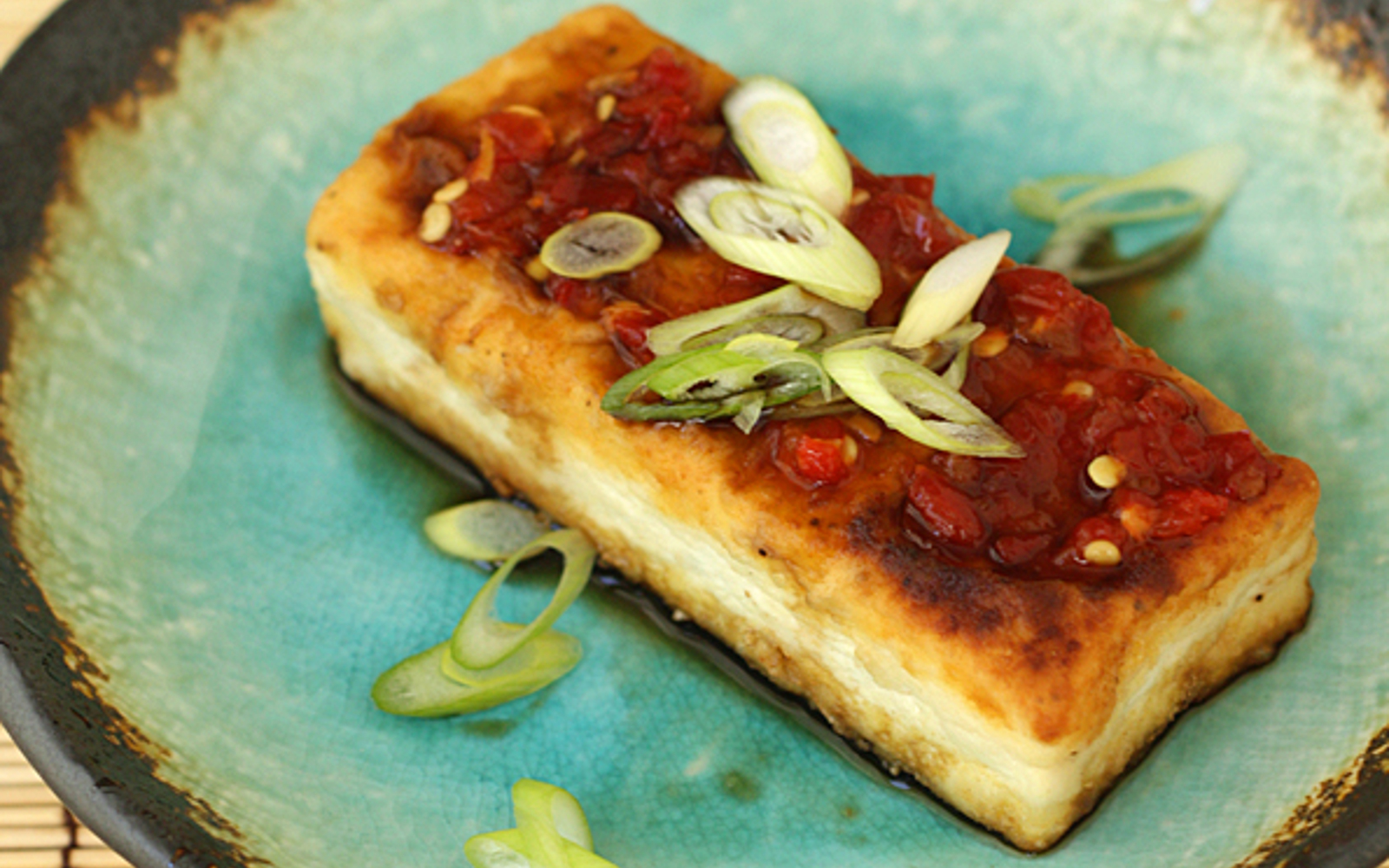 Vegan Tofu Steak with green onions