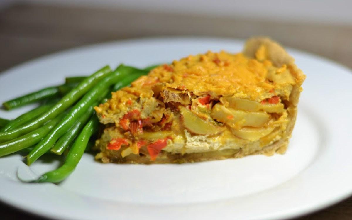 Vegan Potato and 'Cheddar' Quiche