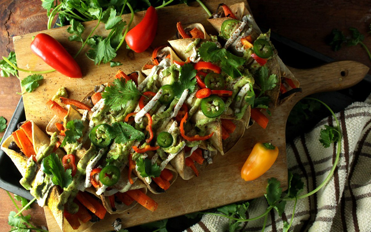 Vegan Hearty Black Bean and Roasted Carrot Taquitos