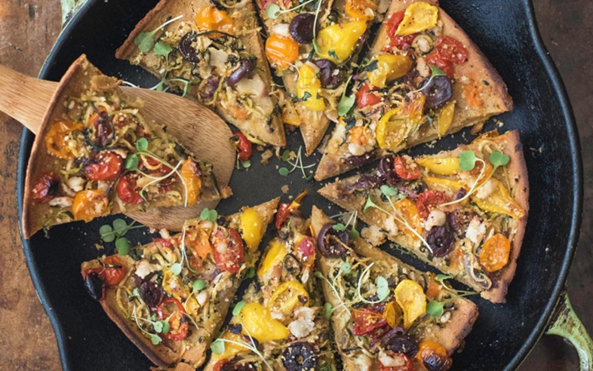 Mediterranean Chickpea Socca Pizza