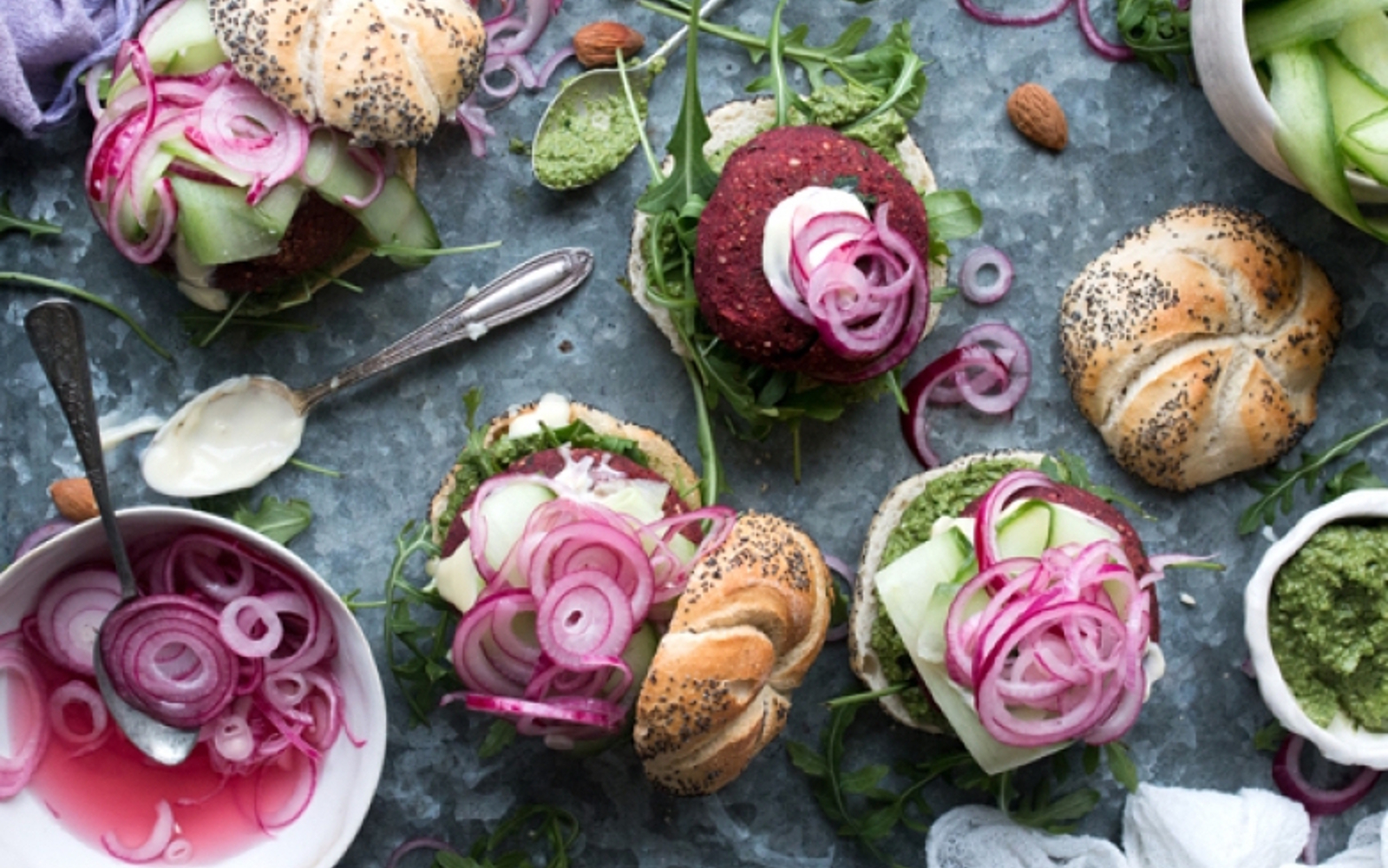 Beet, Almond, and Black Bean Burgers
