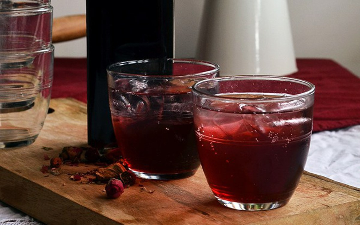 Vegan Hibiscus and Rose Cordial