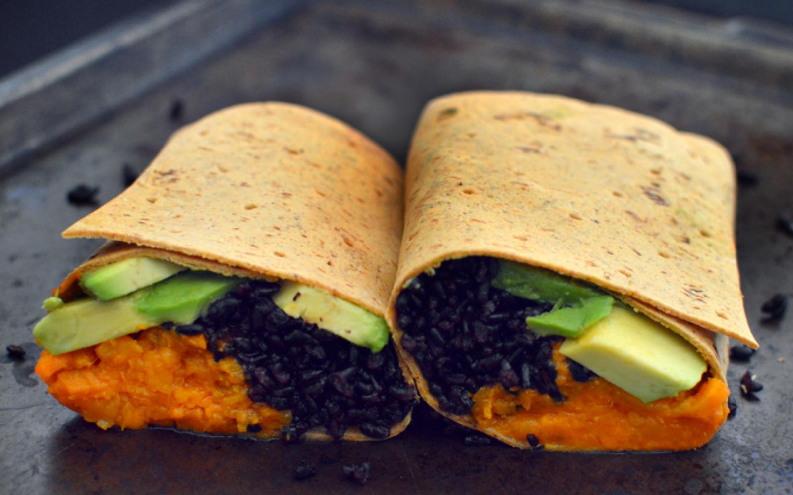 VEgan Buffalo Sweet Potato, Black Rice, and Avocado Wrap