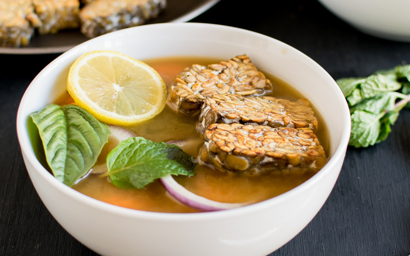 Pan Seared Tempeh Soup