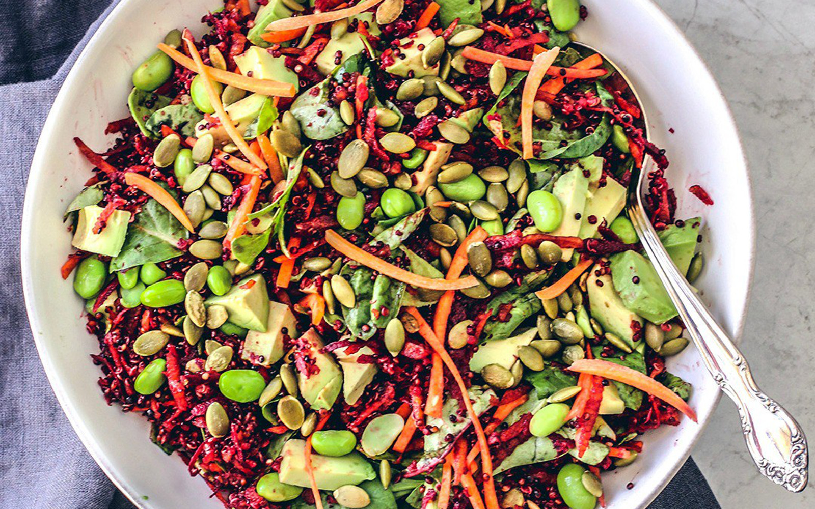 Vegan Bright Beet Salad With Quinoa In a Citrus Vinaigrette
