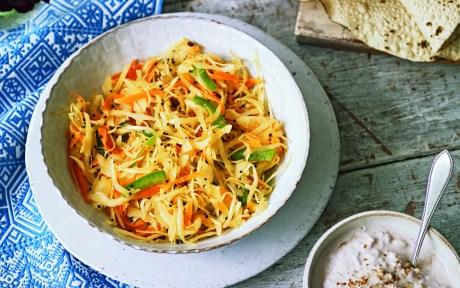 Sambharo: Indian Spiced Carrot and Cabbage Salad [Vegan, Gluten-Free]