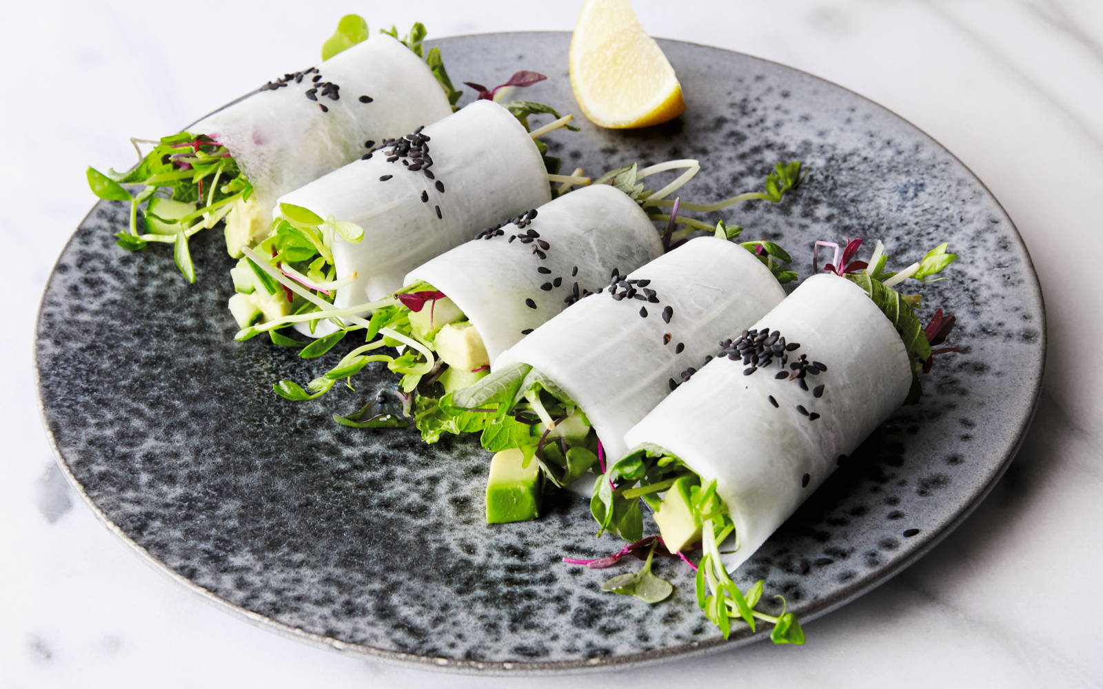Daikon Rolls with Avocado and Micro Greens