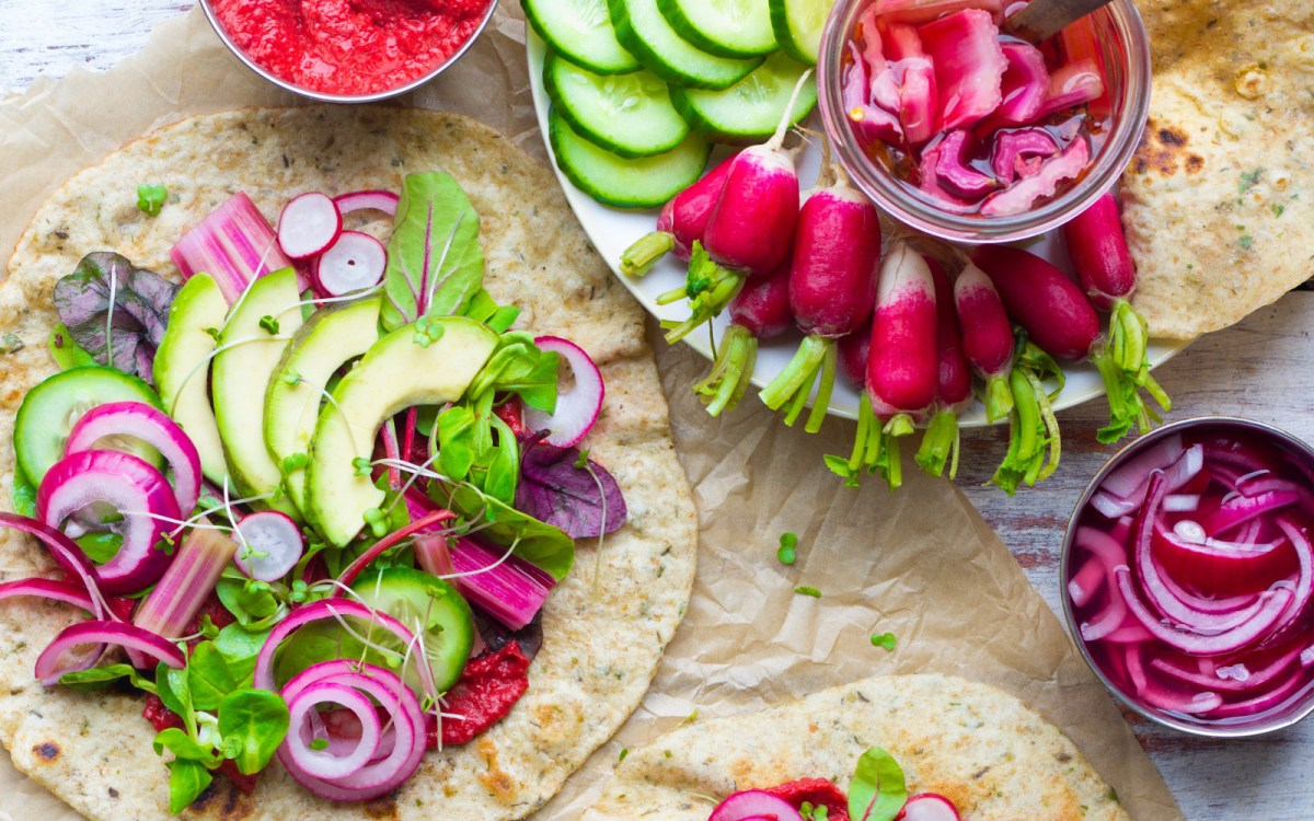 Herby Flatbread With Pink Pickles