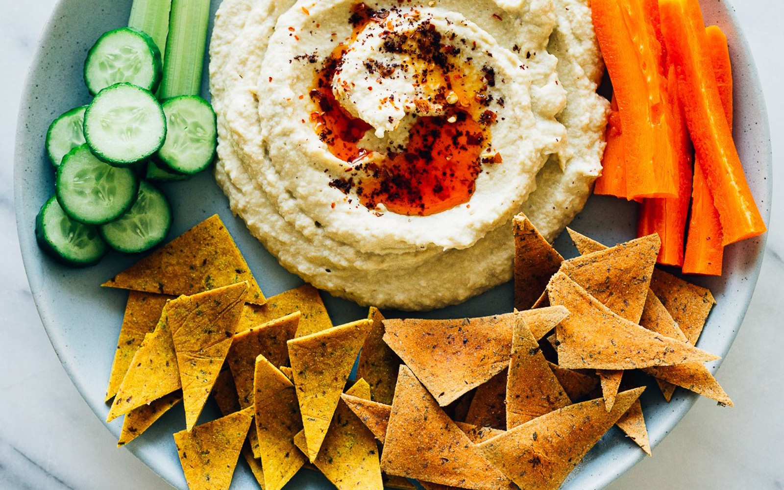 Vegan Eggplant Hummus With Turmeric Crackers and Tomato Cilantro Crackers