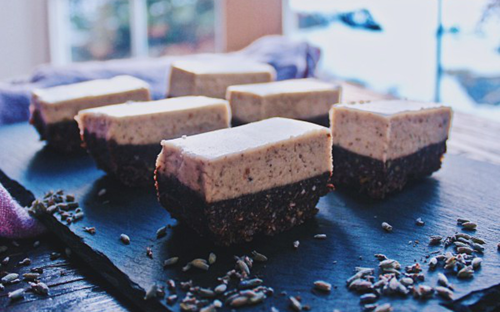 Raw Lavender Cheesecake Bars c