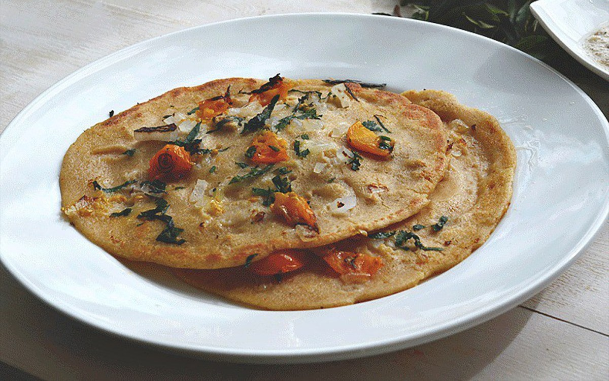 Vegan Savory Oatmeal Pancakes With Coconut Peanut Chutney
