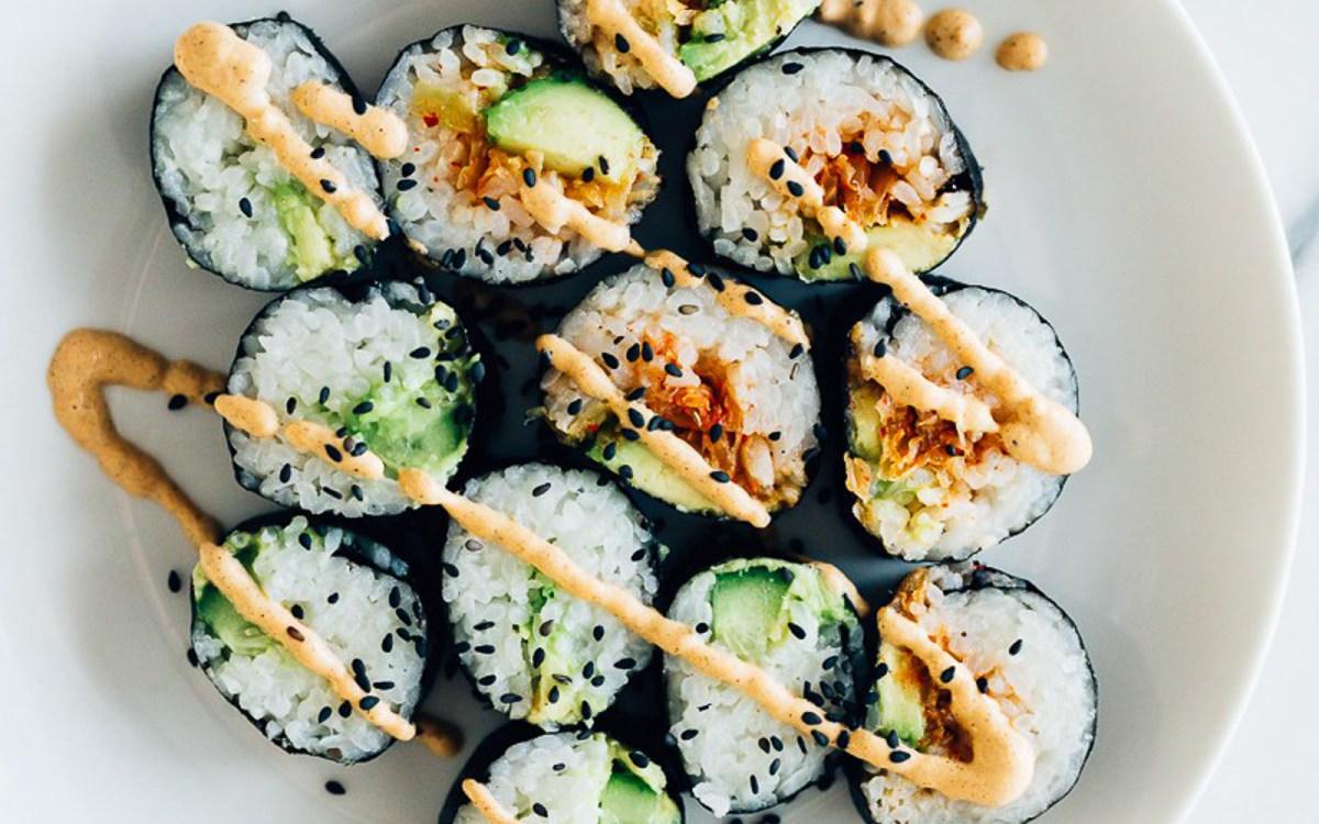 Vegan Gluten-Free Kimchi Cucumber and Avocado Sushi