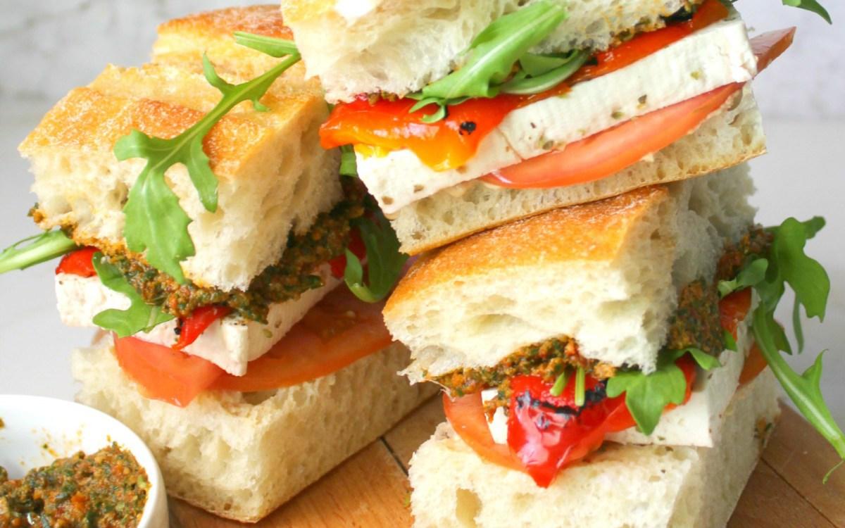 Mediterranean Summer Sandwiches: Marinated Tofu and Sun-Dried Tomato Pesto on Ciabatta