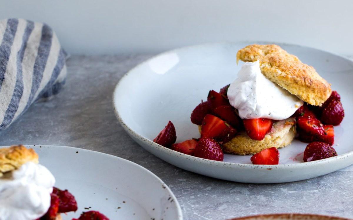 Vegan Barley Rosemary Strawberry Shortcakes