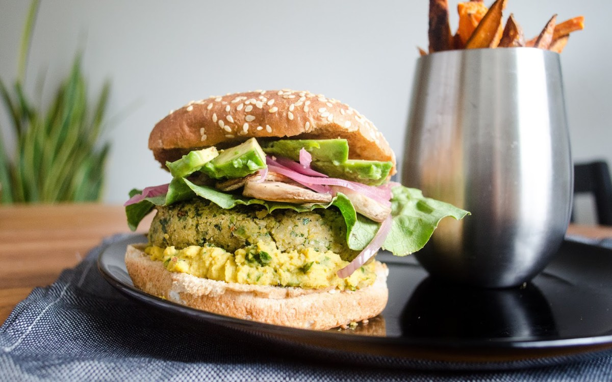 Protein-Packed Curried Chickpea and Kale Veggie Burgers