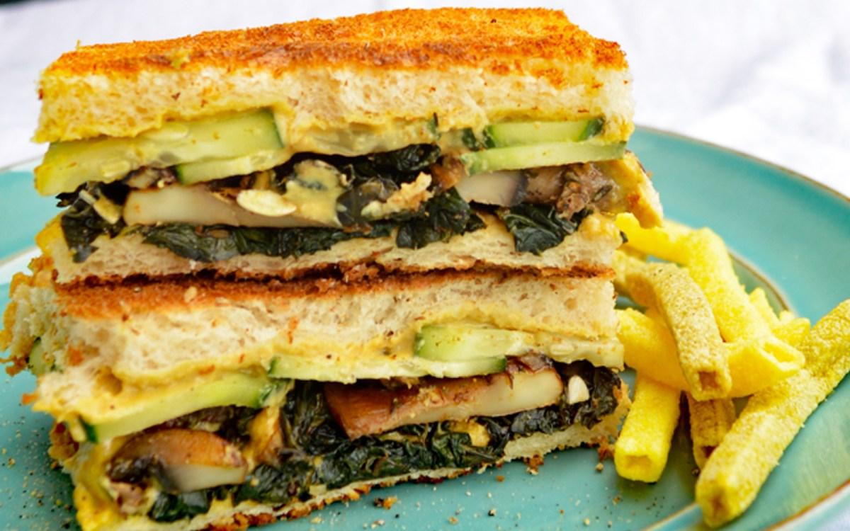 Shooter's Sandwich: Mushrooms and Kale With Homemade Horseradish-Dijon Sauce