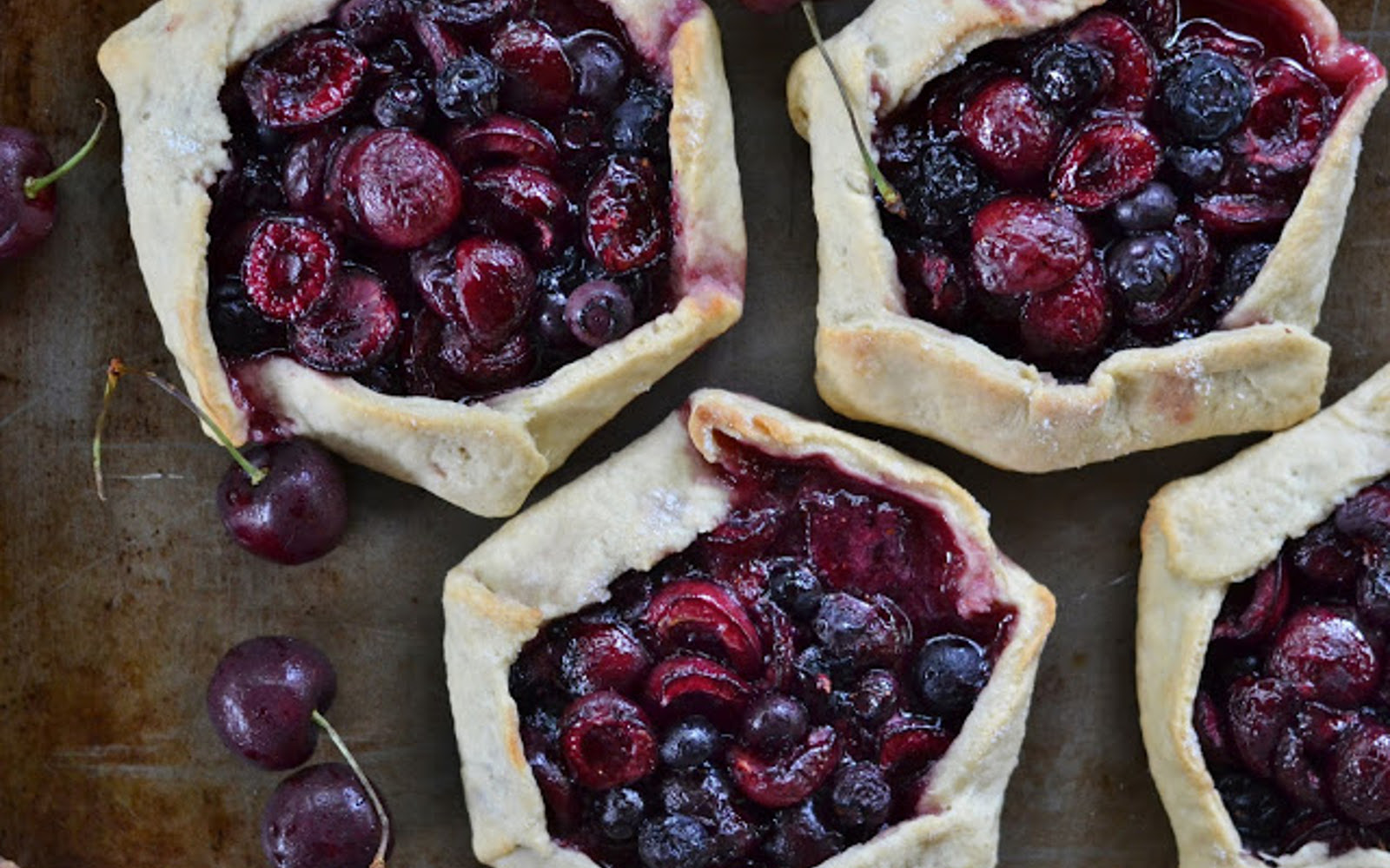 vegan cherry blueberry galettes