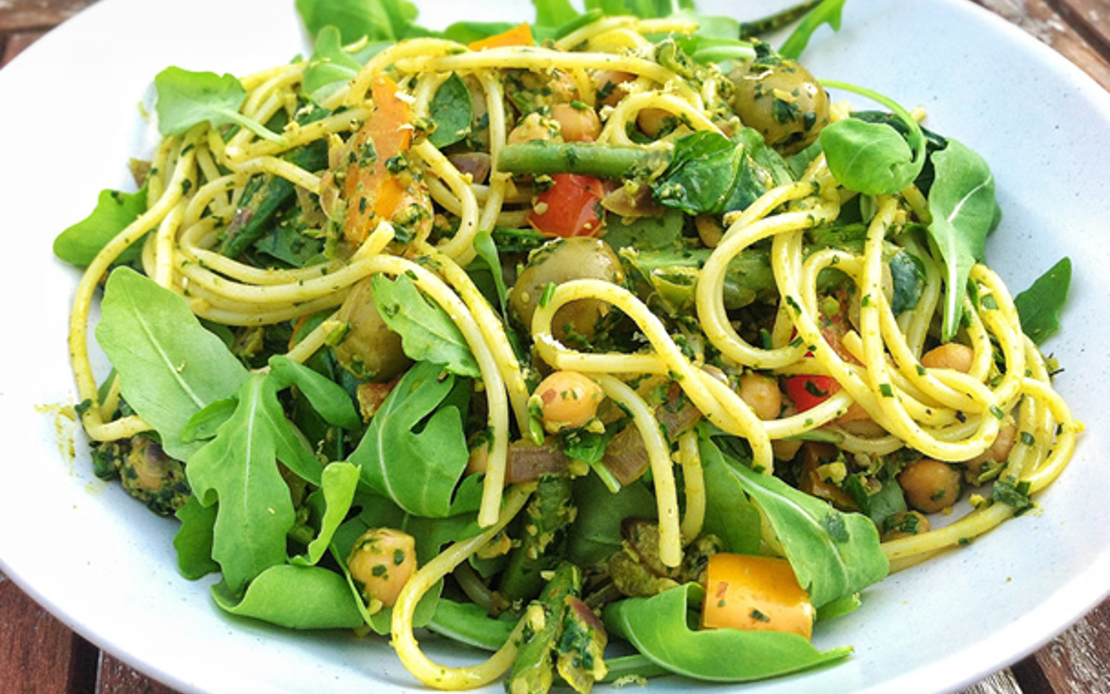 Vegan Spaghetti Moroccan Style With Spinach and Walnut Pesto