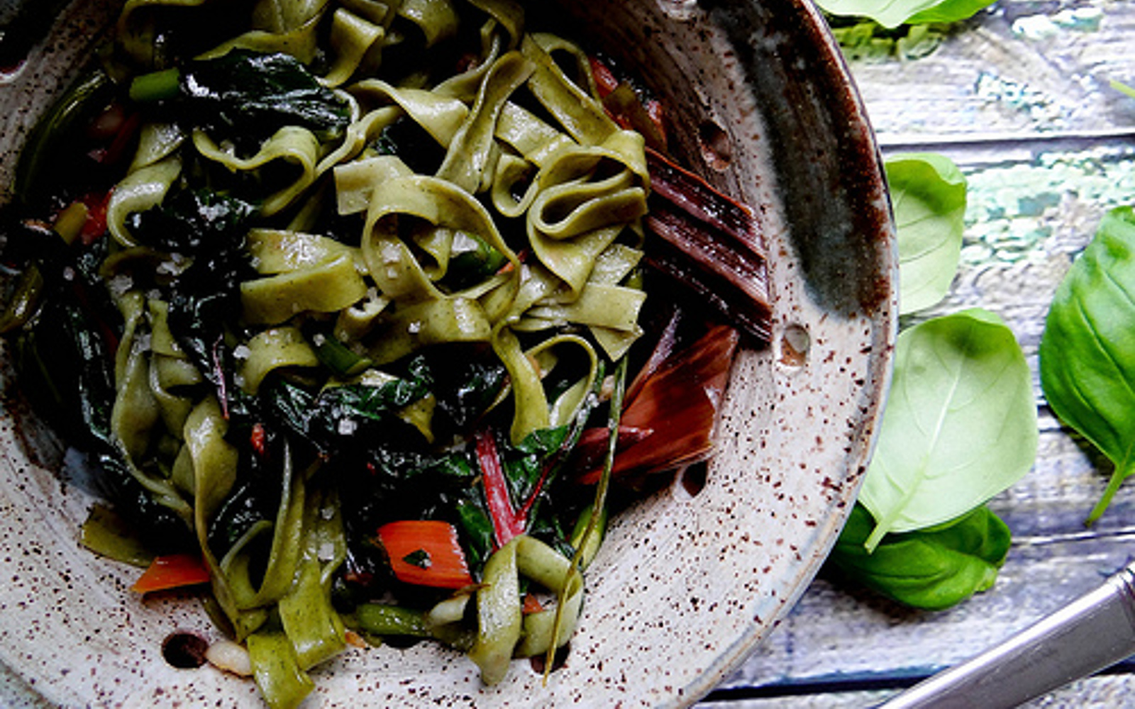 Rainbow Chard and Garlic Scape Fettuccine