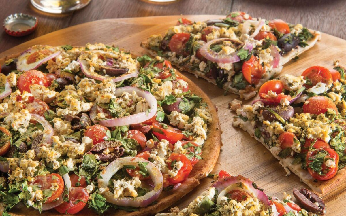 Vegan Gluten-Free Feta and Olive Greek Pizza