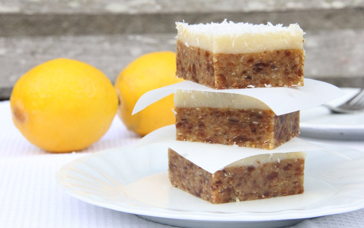 vegan lemon coconut and apricot bars