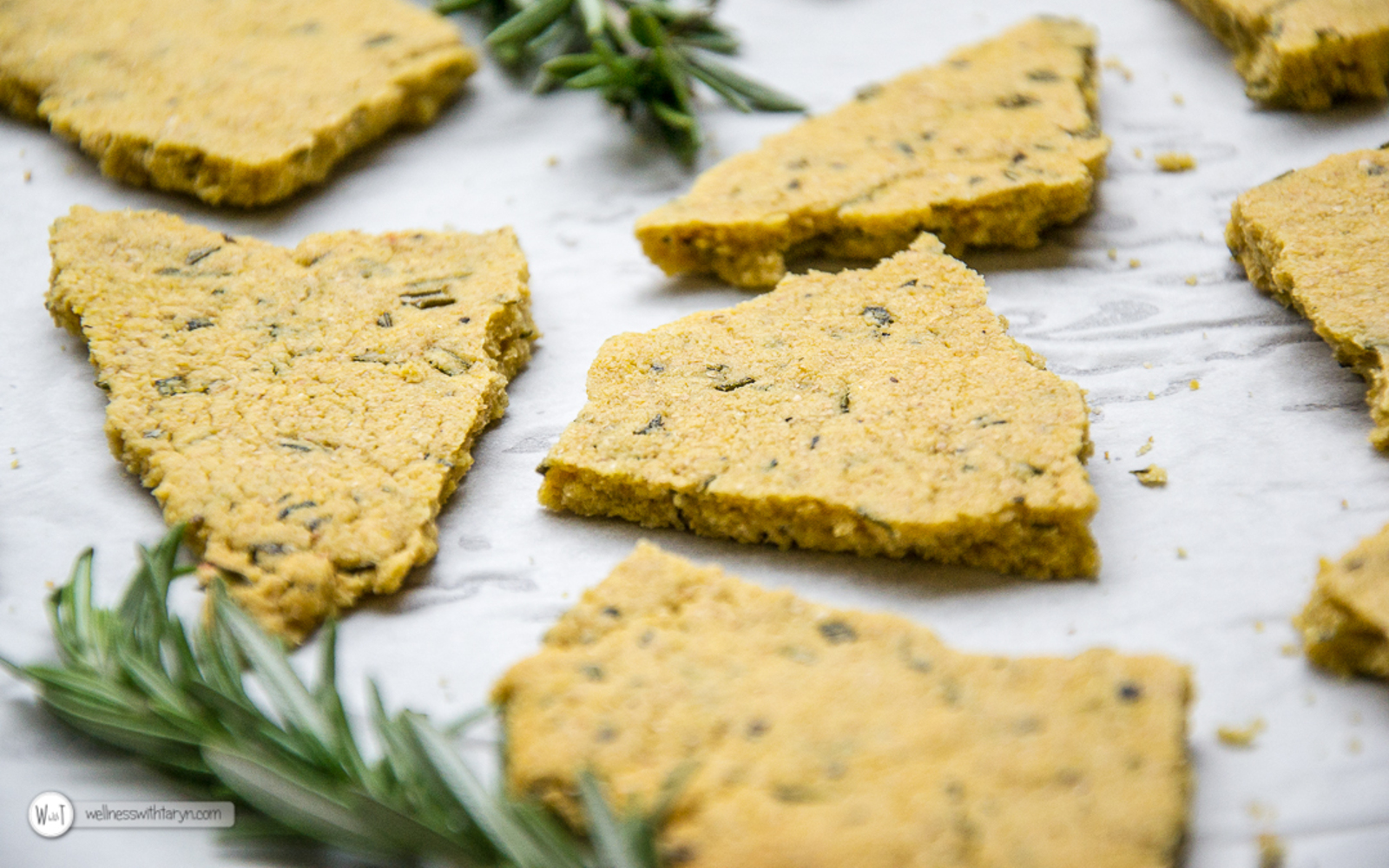 Vegan Grain-Free Salted Rosemary Chickpea Crackers
