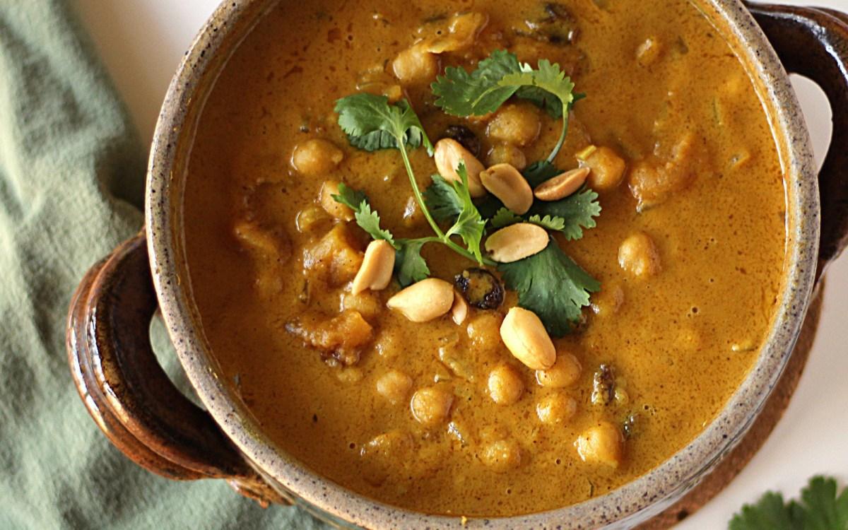 vegan chickpea peanut stew with apricot and raisins
