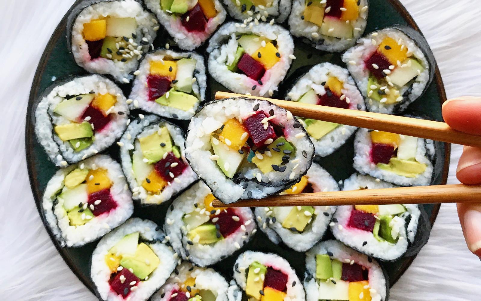 vegan gluten free mango beet sushi