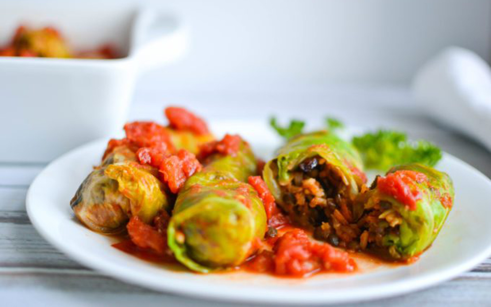 Vegan Brown Rice and Lentil Stuffed Cabbage Rolls