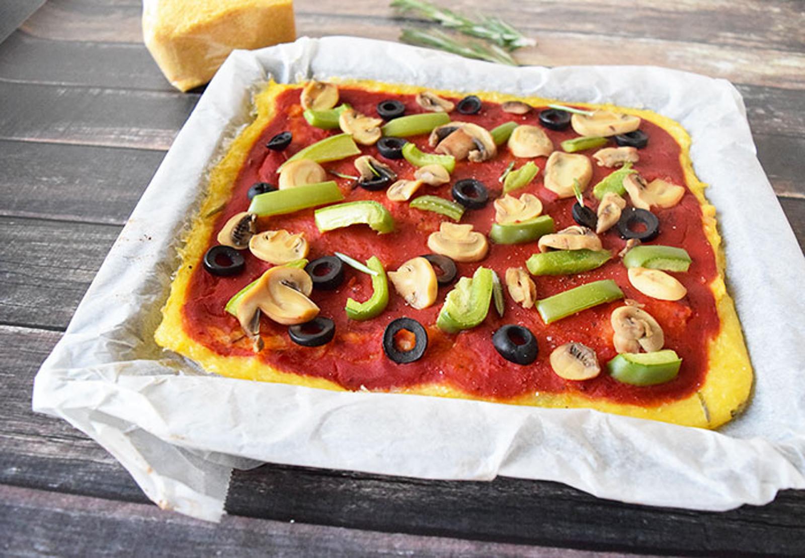 Healthy Polenta Pizza [Vegan, Gluten-Free]
