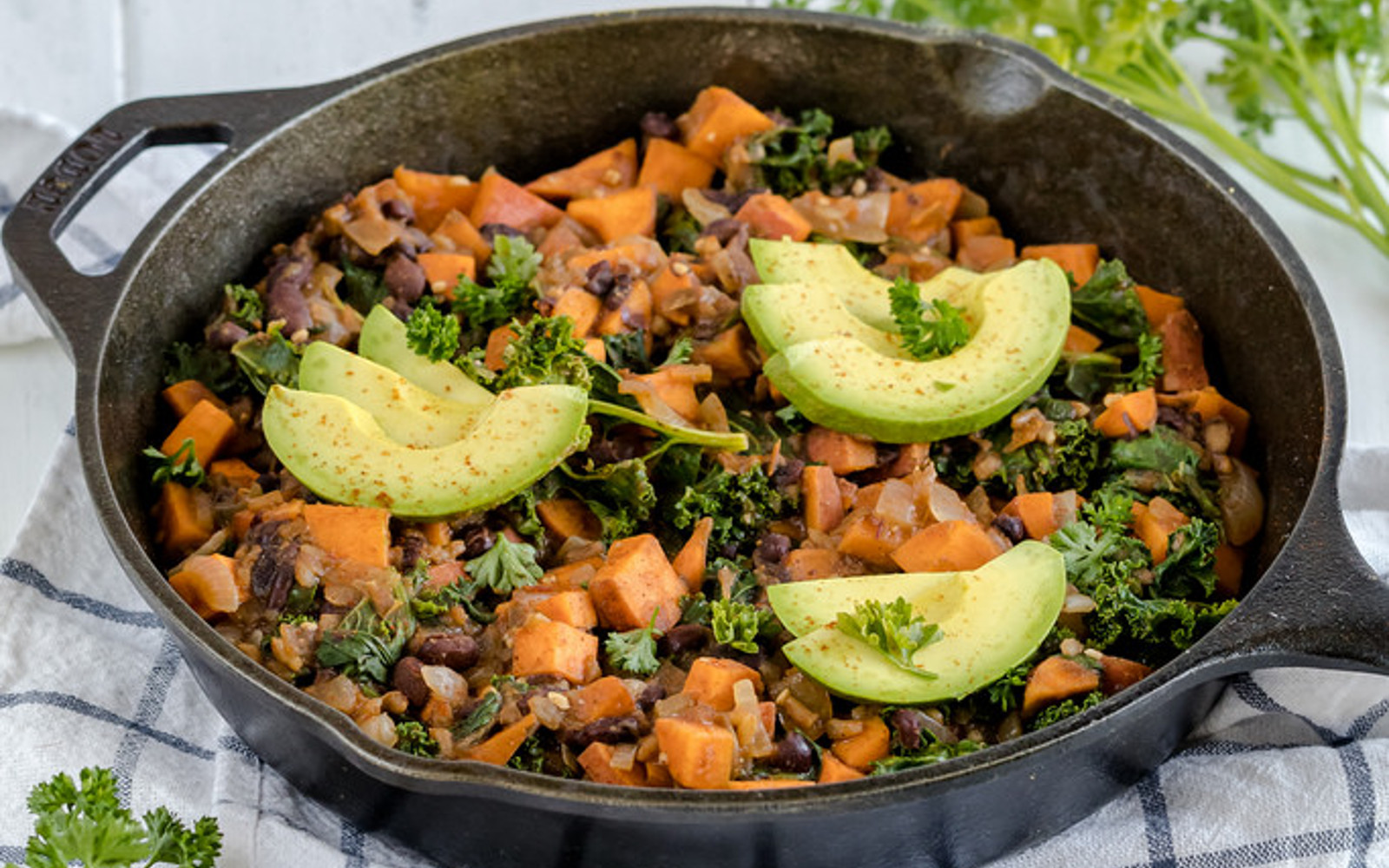 Vegan Gluten-Free Sweet Potato Black Bean Breakfast Hash Topped with Avocado