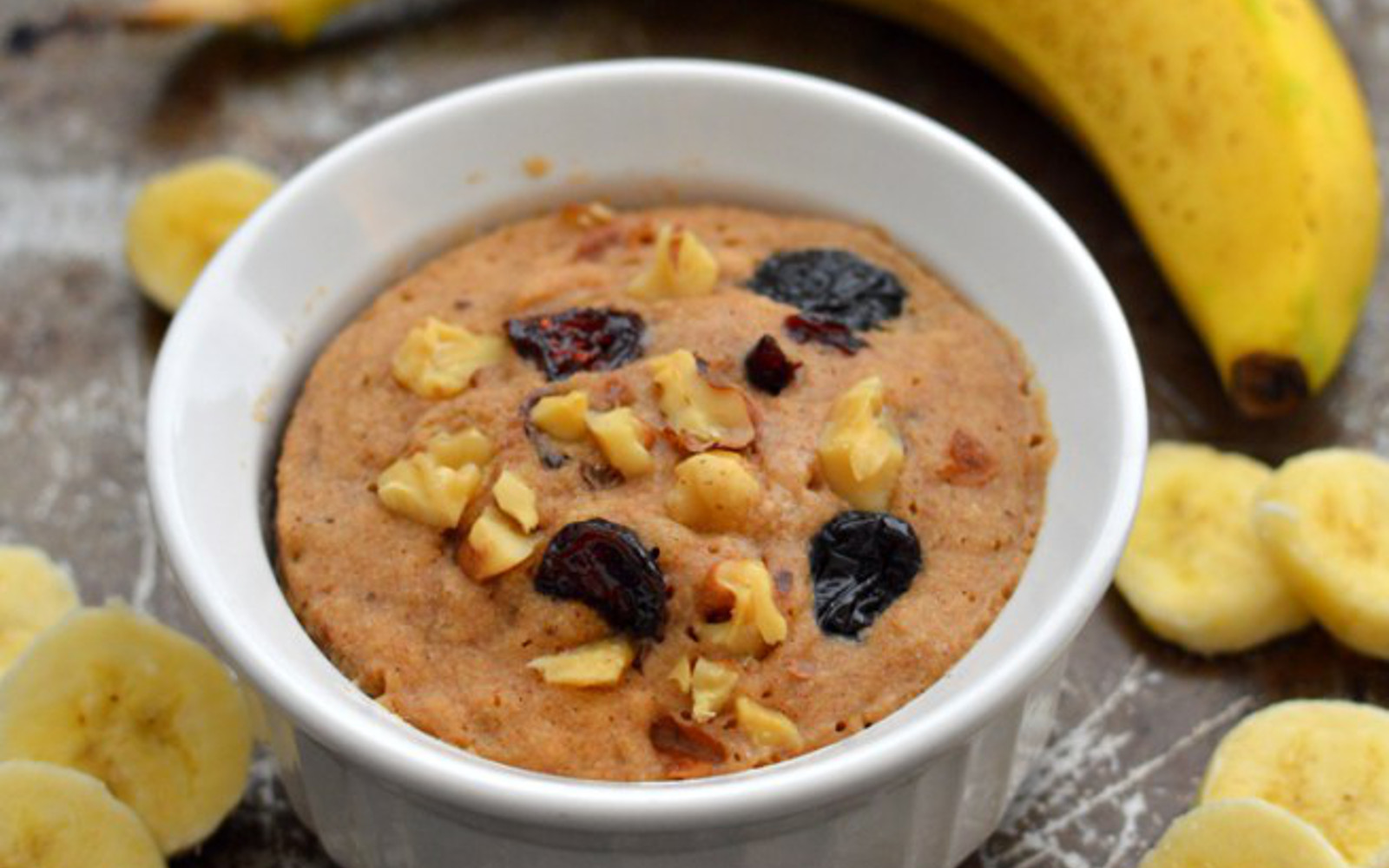 Vegan GLuten-Free Banana Bread Mug Cake with nuts and raisins