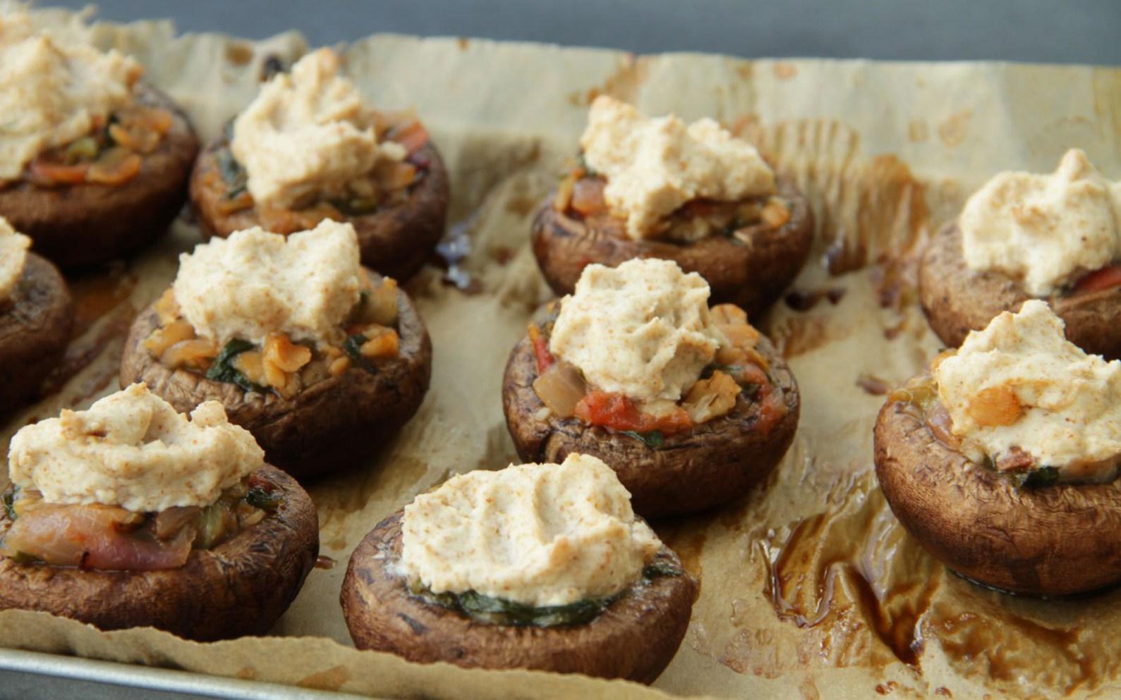 Stuffed Mushrooms With Almond Feta [Vegan, Gluten-Free] - One Green ...