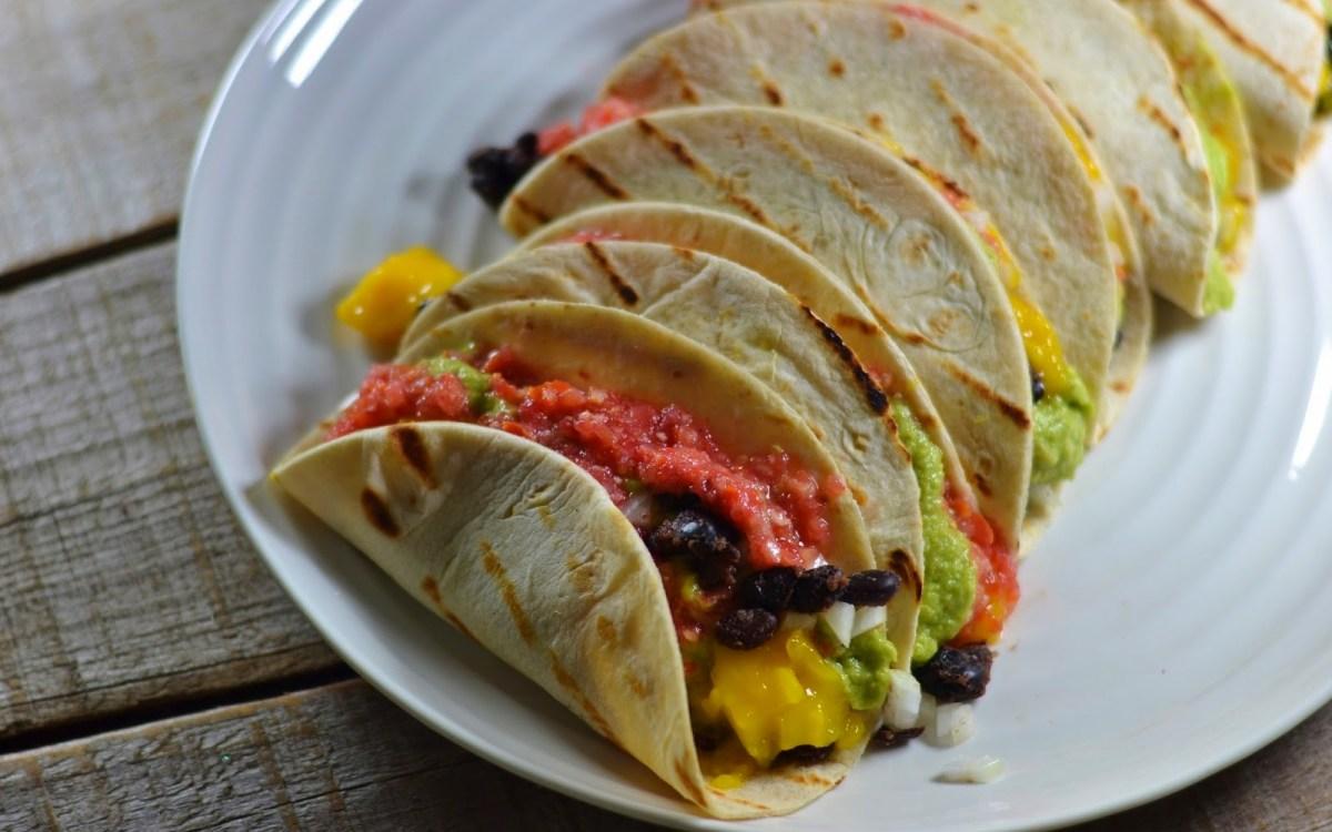 Vegan Mango Black Bean Tacos With Fresh Pico de Gallo and Guacamole